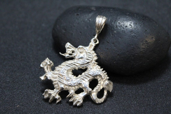 Sterling Silver Dragon Pendant, Sterling Silver Ch
