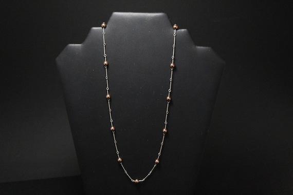 Sterling Silver and Copper Colored Beaded Necklace