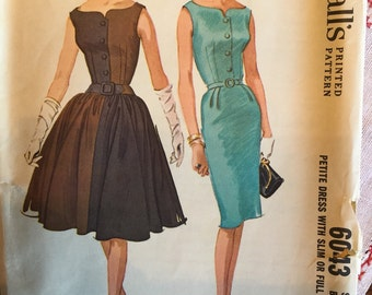 McCall's 6043; ©1961; Hannah Troy - Misses' Petite Dress with Slim or Full Skirt size 14p