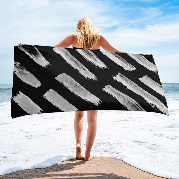 Black White Towel, Bath Spa Sauna Beach Towel Extra HIGH Quality towel , personalized towel, custom towel, birthday gift, Patterned Shapes