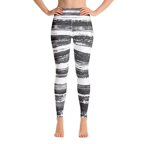 Black/white Yoga Leggings - Women's Premium Ultra Soft - Buttery Soft Patterned Leggings - Hand painted style - Gym pants