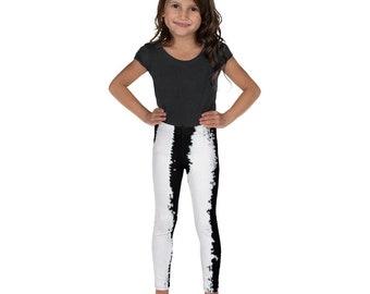 Imperfect Black Stripes Kid's Leggings - Kids Black and White Pants - Dash Birthday Leggings - Birthday Outfit - Printed Leggings - Ballet