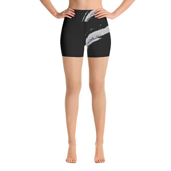 Women Shorts - cycling - dancing -  Women's Premium Ultra Soft - Buttery Soft Patterned Leggings - Waves - Black&White