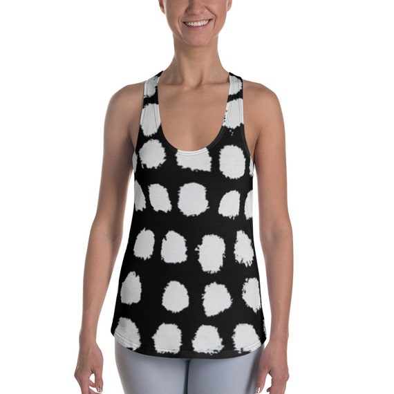Black and White Shirts - Women's Racerback Tanks - Super Soft Exercise Tanks - Yoga Shirts - Workout Tanks for Ladies - Dots Tank Tops -