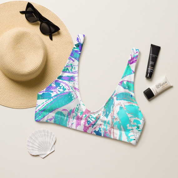 MARIA - Floral Pattern - Hawaiian Pattern - Bold - Eco Friendly - Recycled padded bikini top - Hippie - Boho Style - Beachwear
