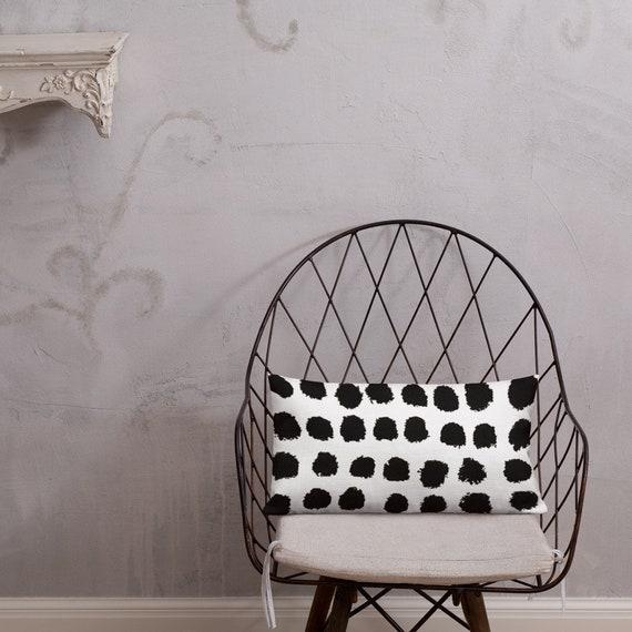 Luxury Black Cream White Abstract Monochrome High Quality Modern Black and White Cushion Throw Pillow