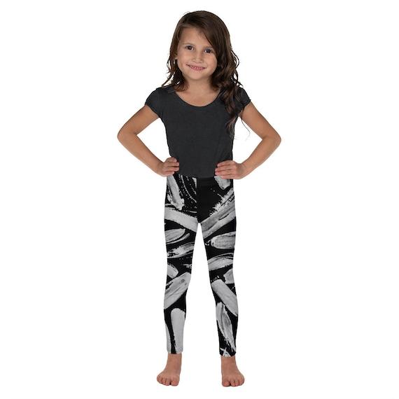 Imperfect Black Leaves Kid's Leggings -Kids Black and White Pants - Dash Birthday Leggings - Birthday Outfit - Printed Leggings - Ballet