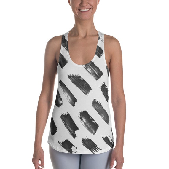 Black and White Shirts - Women's Racerback Tanks - Super Soft Exercise Tanks - Yoga Shirts - Workout Tanks for Ladies - Daily Tank Tops