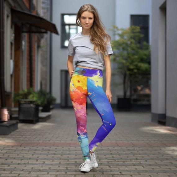 Yoga Leggings - Comfy Leggings - Gym-wear - Yoga Pants- Ballet Pants - Dancing Pants - Paint all over - Printed Leggings- Black and Whit\\