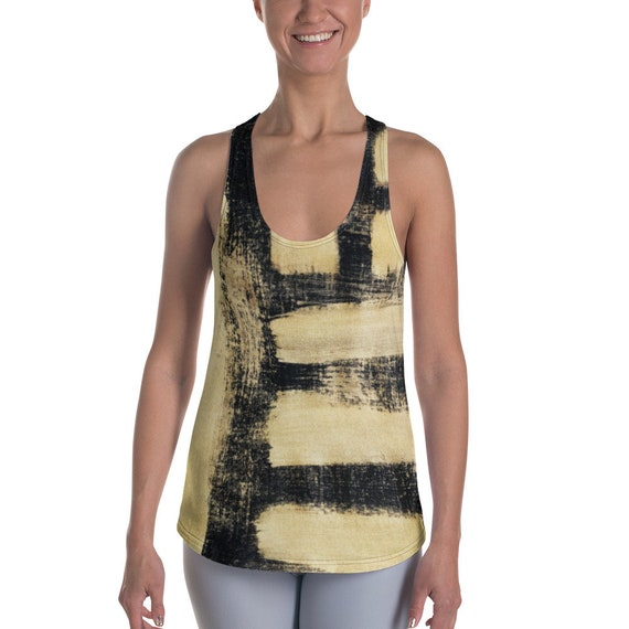 Women's Racerback Tanks - Super Soft Exercise Tanks - Yoga Shirts - Workout Tanks for Ladies - Black&Gold Shirts - Daily Tank Tops