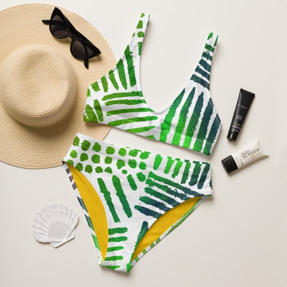 Andrea - Recycled high-waisted bikini - Hippie - Retro Style - Beachwear - Gift for her - Green Pattern - Tropical Pattern