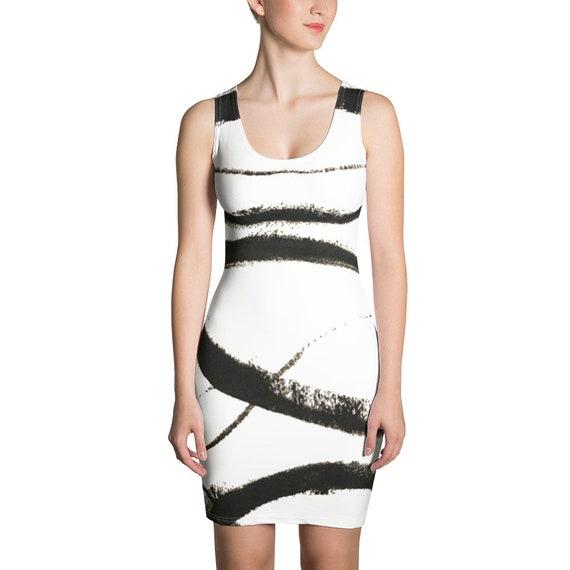 Imperfect Clizia Flow White Sublimation Cut & Sew Dress