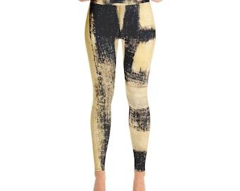 Gold leggings  - Yoga Leggings -  Women's Premium Ultra Soft - Buttery Soft Ankle Length Patterned Leggings - pattern leggings