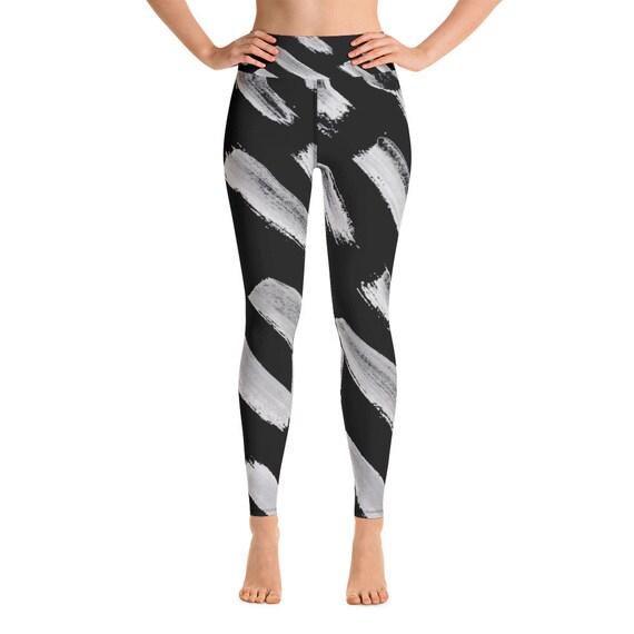 Black leggings  - Women Leggings - Yoga Leggings - Women's Premium Ultra Soft - Buttery Soft Ankle Length Patterned Leggings - Stripes