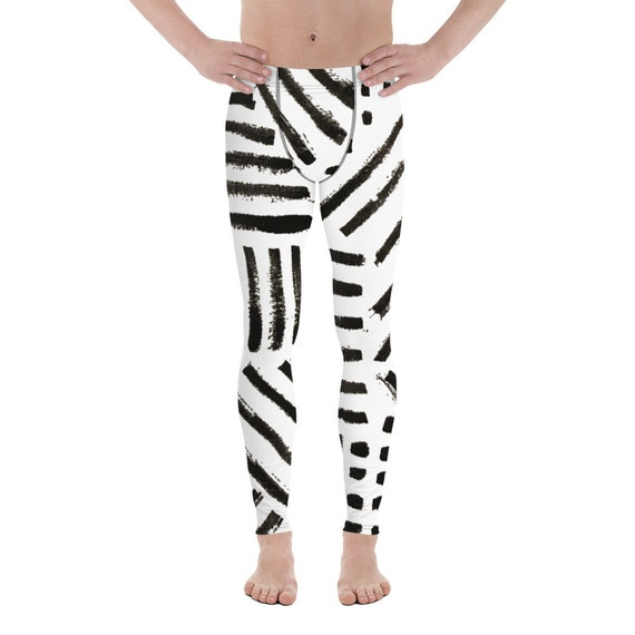 Imperfect Men's Leggings Gym Butt Lifting Booty Running Tights Dancing Pants Soulcycle Yoga Pants Meggings Black and White Fashion Man
