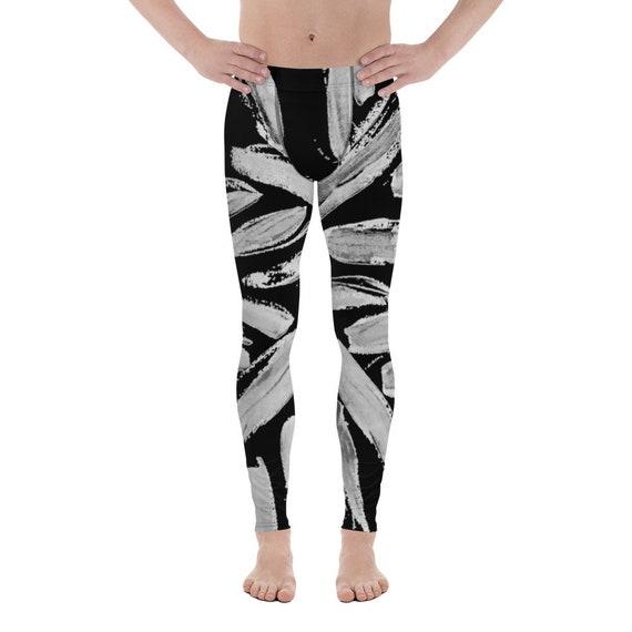 Black/White Men's Leggings - black and white - Meggings - running workout pants - yoga pants - SoulCycle leggings - dancing leggings