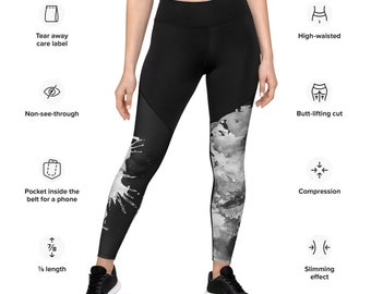 Sports Leggings - All Size Leggings - compression fabric leggings - Workout Leggings -Custom Leggings-Leggings with pocket-Pattern leggings