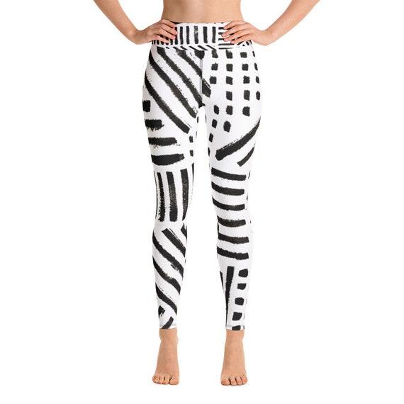 White and Black Leggings - Women's Premium Ultra Soft - Buttery Soft Ankle Length Patterned Leggings - Yoga Leggings - Gift for Her