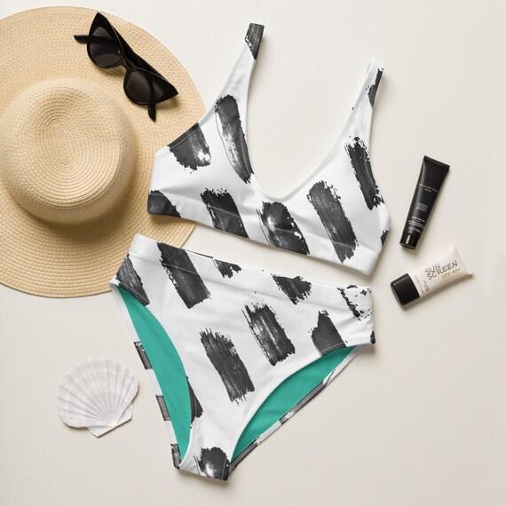 Sara - Recycled high-waisted bikini - Hippie - Retro Style - Beachwear - Gift for her - Hand Painted Pattern - White and Aqua Blue
