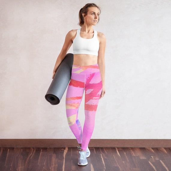 Yoga Leggings - Comfy Leggings - Gym-wear - Yoga Pants- Ballet Pants - Dancing Pants - Printed Leggings- neon - pink leggings