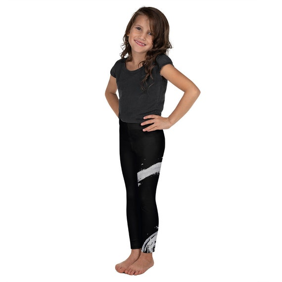 Imperfect asymmetric Kid's Leggings - Kids Black and White Pants - Dash Birthday Leggings - Birthday Outfit - Printed Leggings - Ballet