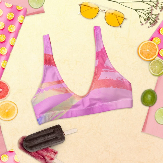Recyled padded bikini top Fun Bikini - Hand-Painted Pattern - Bold Style - Eco-Friendly - Recycled - high-waisted bikini - Hippie - Gift