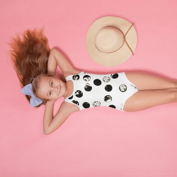 Kids Customized One Piece Swimsuits, Black&White swimsuits, Baby swimsuit, Personalized Swims, Kids bikini, Girls Pool Party Swimsuits-vinyl