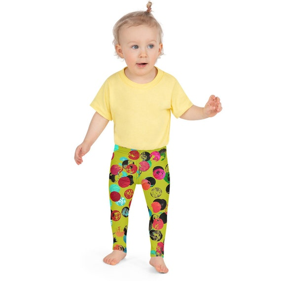 Green and Pink Kid's Leggings Girls Kids Leggings  - Dash Birthday Leggings - Birthday Outfit - Printed Leggings - Ballet