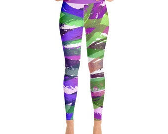 Yoga Leggings -Premium Active Buttery Soft Workout Leggings -Gift - Athletic - Running - Fitness - Activewear -Gift for her - Palm Tree