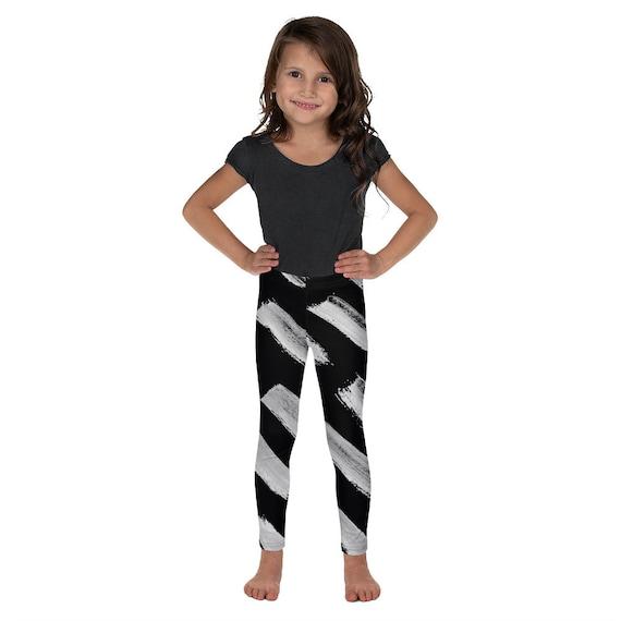 Imperfect Black Brush Kid's Leggings -Kids Black and White Pants - Dash Birthday Leggings - Birthday Outfit - Printed Leggings - Ballet