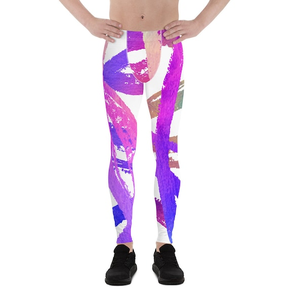 Clizia Kolor Men's Leggings - rainbow - pop style -stripes pattern - disco pants - dancing leggings -Meggings - running workout pants - yoga