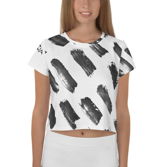 Imperfect Brush All-Over Print Crop Tee