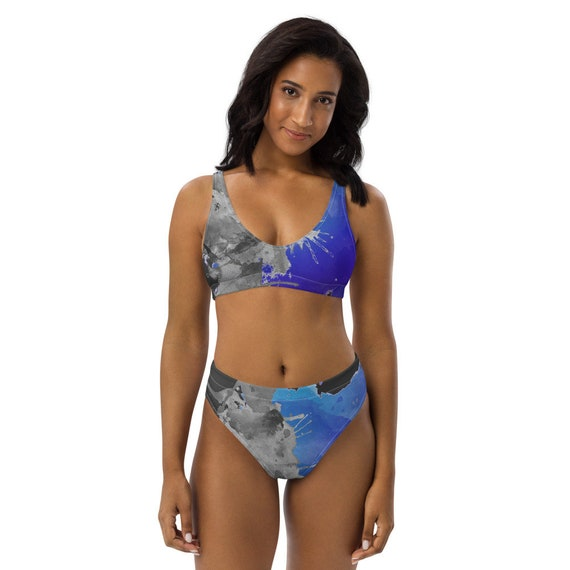 Hand-Painted Pattern - Bold Style - Eco-Friendly - Recycled - high-waisted bikini - Hippie - Gift for her - Blue - Hand Painted Style