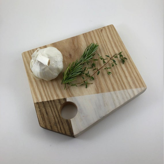 SOLD OUT - Modular Ash Cutting Board - Brown and White Detail