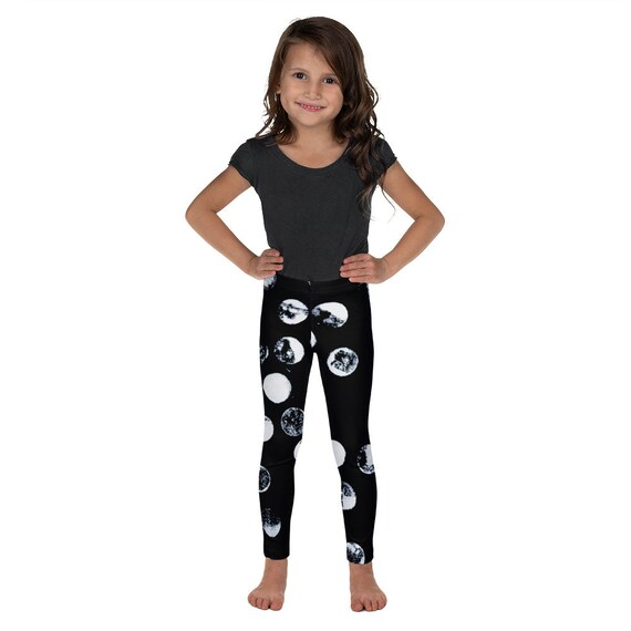 Imperfect Dots Black Kid's Leggings - Space Pattern - Moons Patterns - Kids Black and White Pants - Girls Leggings - Birthday Outfit