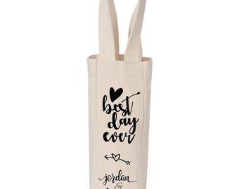 Wedding gift custom wine tote personalized bride & groom