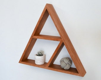 Triangle Wooden Shelf // Geometric Shelf // Maple