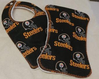 Pittsburgh Steelers Baby Bib and Burp Cloth
