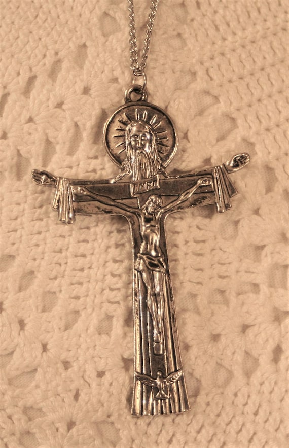 Handsome Holy Trinity Father Son Holy Spirit Silvertone Etsy