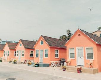 Pink House Print, Beach House Photo, Beach Cottage, Coral, Vertical Art Print, San Diego Beach Cottage, Beach Photography, Vertical Wall Art