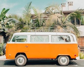 Beach Van Photography, Encinitas Beach Print, Orange Beach Wall Art, Beach Van Photo, Van Surf Print, Colorful Wall Art, San Diego Beach