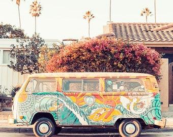 Beach Bus Photography, California Beach Print, Beach Van, San Diego Beach Art, Bohemian Home Art, Vertical Wall Art Print, Beach Van Photo