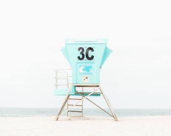 Lifeguard Tower Photo, Modern Beach Print, Coronado Beach Print, Aqua Beach Wall Art, San Diego Photography, Large Beach Wall Decor