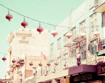 San Francisco Chinatown, Chinese Lanterns, California Photo, San Francisco Photography, Chinatown Print, Aqua, Pastel Wall Art