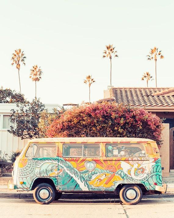 Vw San Diego >> Vw Bus Photography California Beach Print Volkswagen Van San Diego Beach Art Bohemian Home Art Vertical Wall Art Print Beach Van Photo