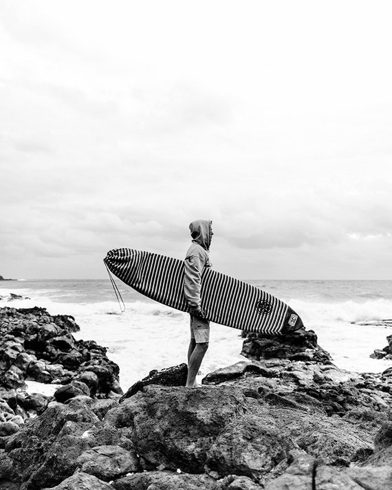Surf Photography Vertical Wall Art Black And White Beach Etsy
