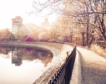 Large Central Park Print, New York City, New York Print, New York Wall Art, Central Park Photography, Autumn Leaves, Central Park Reservoir