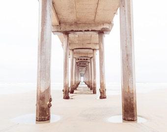 Minimalist Art, White Print, Neutral Beach Decor, Pier Photography, Cream, Wood Texture, Beach Photo, La Jolla Pier, Soft Neutral Decor