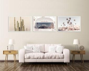 Palm Springs Print Set, Southwest Desert Wall Decor, Cactus Art, Airstream Print, Palm Springs Photography, Neutral Wall Art Set, California