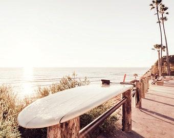 California Beach Photography, Surf Photography, Cream Decor, Surfboard Art, Beach Print, Swami's Beach, Surfboard Print, San Diego Surf